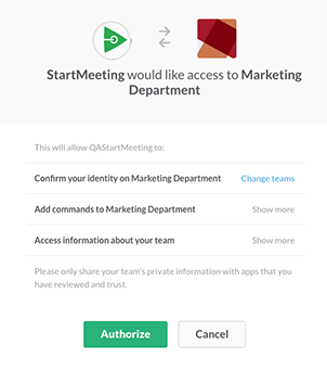 Authorize slack to access StartMeeting account page
